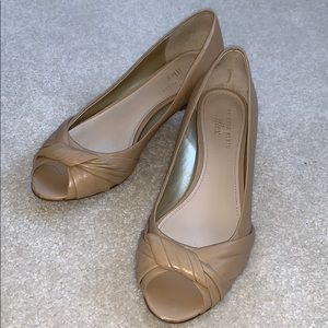 Nude peep toe wedges -size 8.5